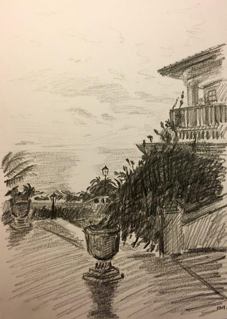 Ocean Gardens View Sketch - Emma Kate Hulett