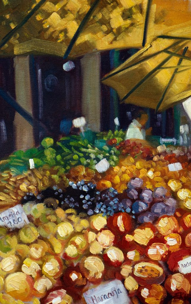 Funchal Fruit Market II Oil Painting - Emma Kate Hulett