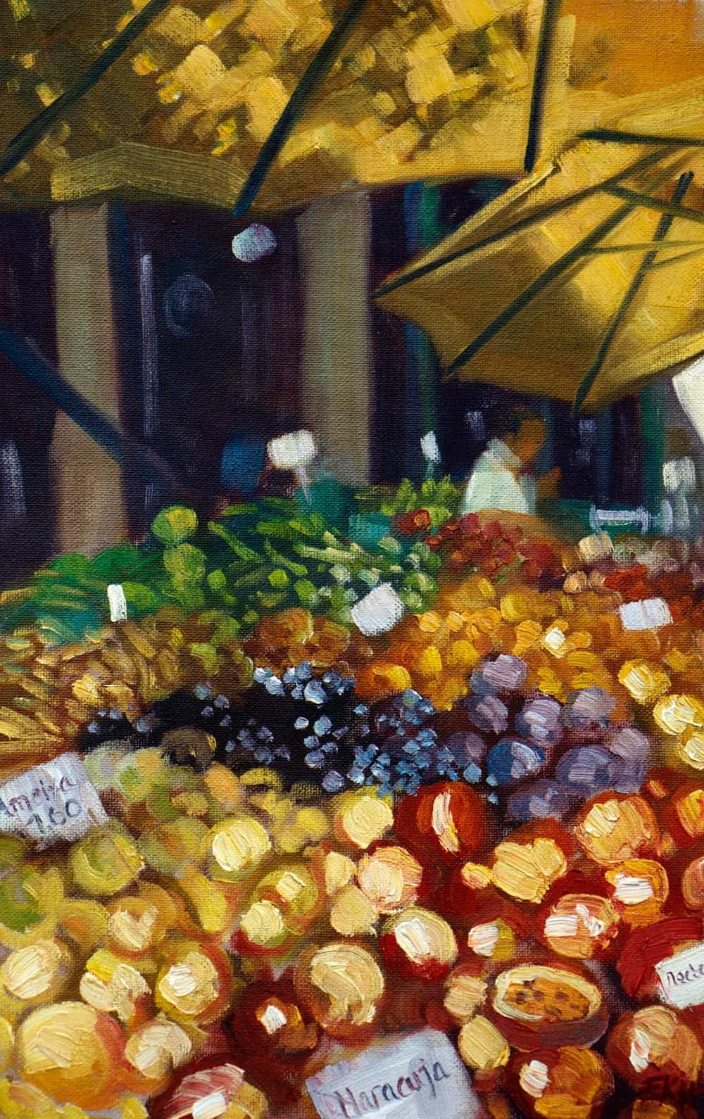 Funchal Fruit Market II Oil Painting - Emma Kate Hulett